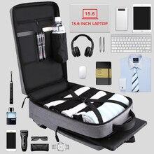 Mochila de trabajo de carga USB Casual para hombre, mochila de viaje corta para hombre, bolsas de equipaje de viaje impermeables para ordenador portátil de 15,6 pulgadas