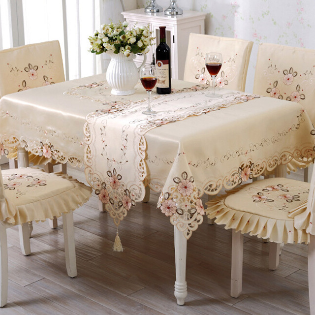 Dining Room Table Chair Covers: Table Cloth Embroidery Chair Cover Sets Dining Table Cloth