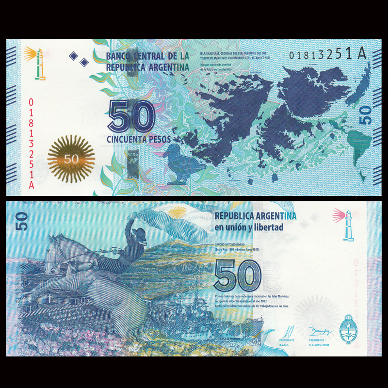 Argentina 50 Pesos, 2015, P-362 New, UNC, Falklands War Commemorative, America, Collection, Gift, Genuine Original Paper Notes
