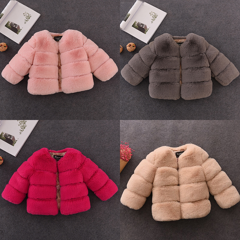 Autumn Winter Girls Faux Fur Coat Solid Kids Jackets Coats Warm Children Fur Coat For Baby Girls Jacket Outerwear Parkas children jacket print flower thick warm faux fur coat kids pretty winter hooded button long jacket for girls autumn girls coat