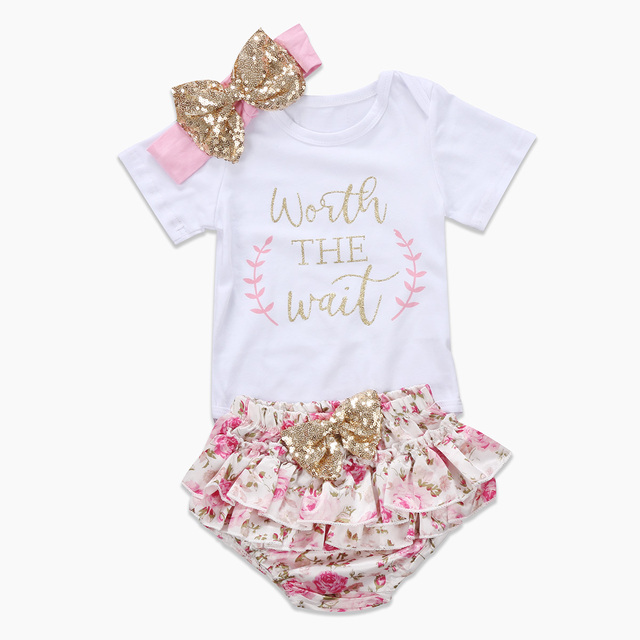 d5ee96e90ef8 Pudcoco Cute Newborn Baby Girl 2017 Floral Worth Wait Romper+Tutu Shorts  Outfits Clothes Set 0-24M