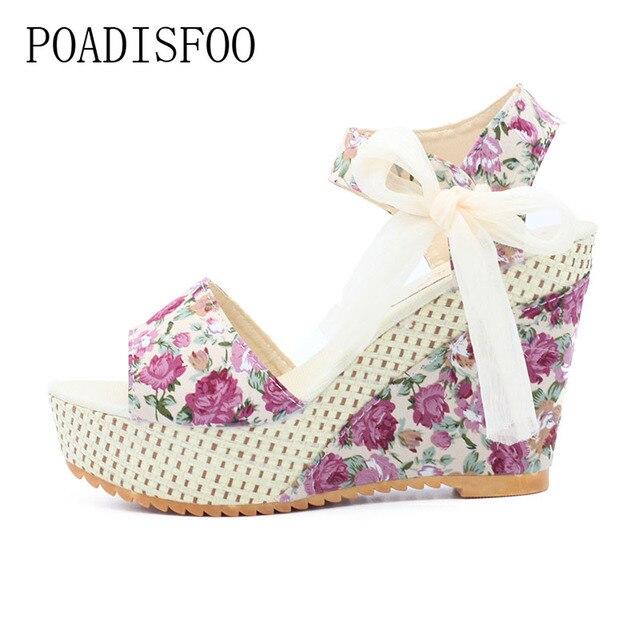209f2b59d1f0de POADISFOO Summer New Sweet Flowers Buckle Open Toe Wedge Sandals Floral  high-heeled Shoes .HYKL-915
