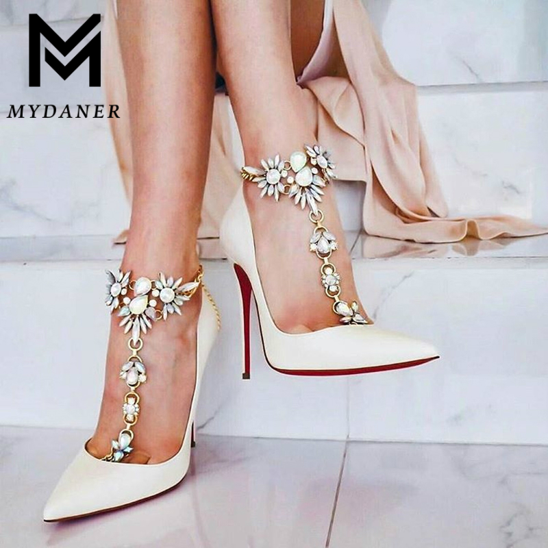 MYDANER Fashion Crystal Ankle for Women Bracelet Beach Vacation Sandals Sexy Leg Chain Barefoot Boho Statement