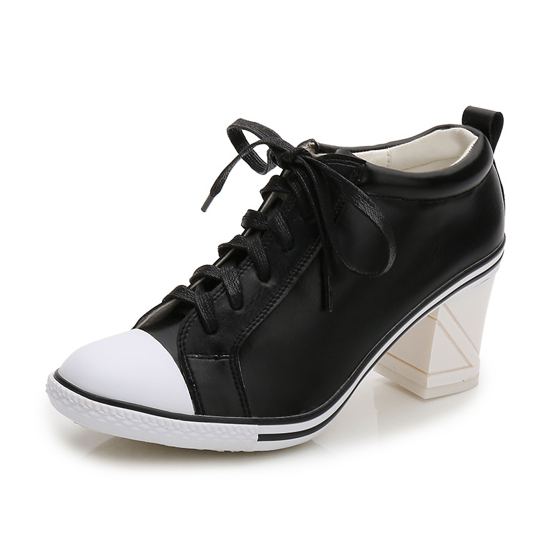 Autumn New Korean Genuine Leather Wild Women s Single Shoes High Heels Lacing Fashion Sneaker Personality
