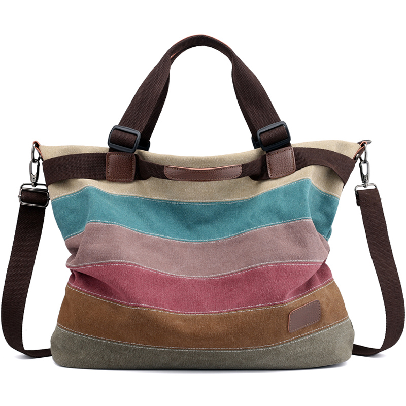 Rainbow Color Stripes Big Capacity Casual Totes Women Canvas Shoulder Bags Vintage Women Messenger Bag Female Handbag Sac A Main стоимость
