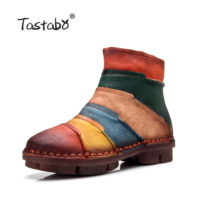 Tastabo Hot Sale Shoe Martin Boots Genuine Leather Ankle Shoes Vintage Casual Shoes Brand Design Retro