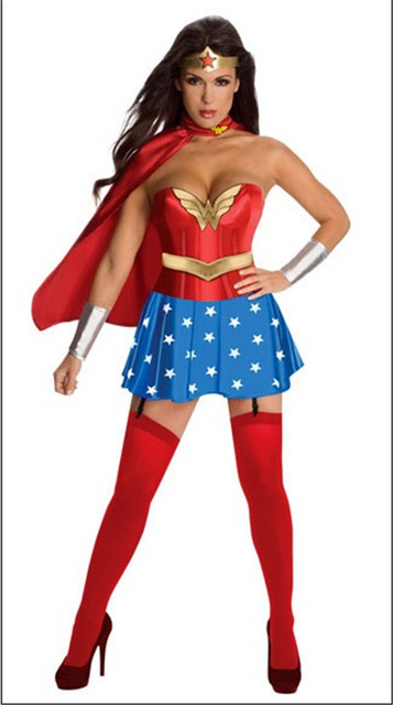 Wonder Women Super Heroine Corset Halloween Sexy Costumes Women Halloween Dress