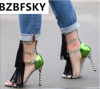 2017 Brand Gladiator Sandals Women Pumps Faux Suede Tassel Fringe Strappy Ankle Strap Sexy Open Toe