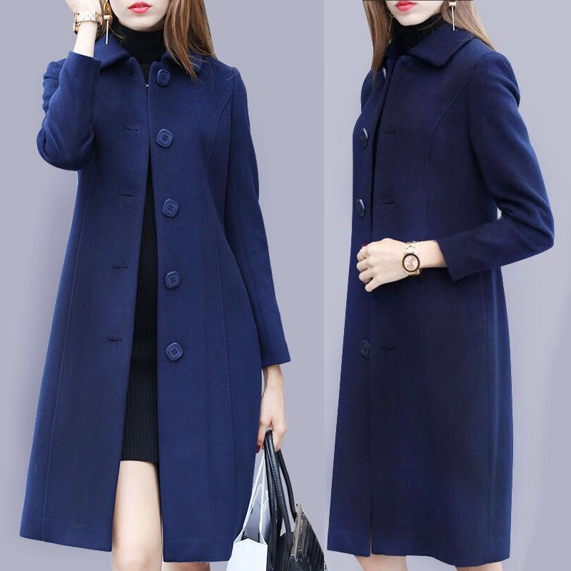 Fall Winter Fashion Women Office Lady Blue Wine Red Black Padded Woolen Coat , Womens Female 3xl Loose Elegant Coats Overcoat