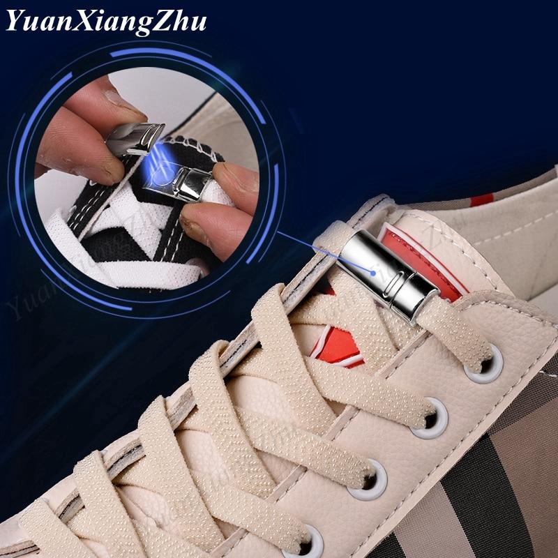 Novo elástico 1 segundo cadarços de travamento magnético criativo rápido sem laço sapato atacadores crianças adulto unisex cadarço tênis sapato laços