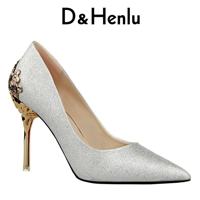 D&Henlu Brand Shoes Elegant Lady High Heels Women Pumps Carving Thin Heel Pointed Toe High Heel Party Shoes Woman Gold Sliver creativesugar elegant pointed toe woman