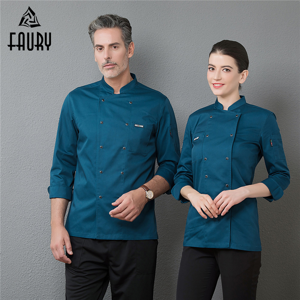 Professional Chef Uniforms Long Sleeves Restaurant Uniform Food Service Kitchen Work Jackets Cocina Hotel Cooking Overalls