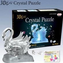Светящийся светодио дный светодиодный кристалл лебедь трехмерная головоломка, вспышка музыка Лебедь