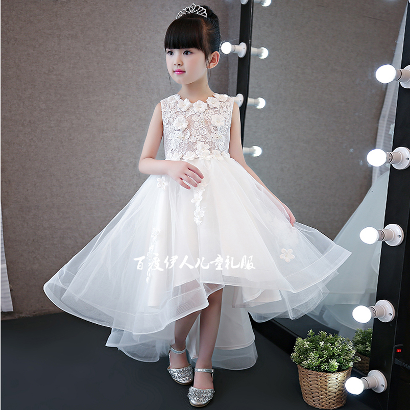2017Summer New Arrival White Color Snowwhite Princess Dress For Girls Children Kids Birthday Wedding Party Lace Dress With Tail new high quality fashion excellent girl party dress with big lace bow color purple princess dresses for wedding and birthday
