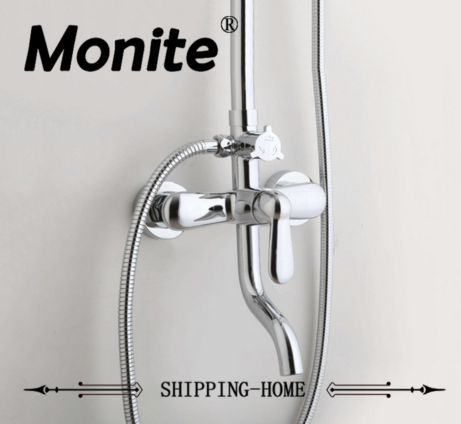 Shower set Wall Mounted Third gear Control Valve with faucet Spout Rotatable Handle Chrome Brass Double Handle SC0080 mini brass ball valve panel mountable 450psi with lever handle chrome plated malexfemale npt