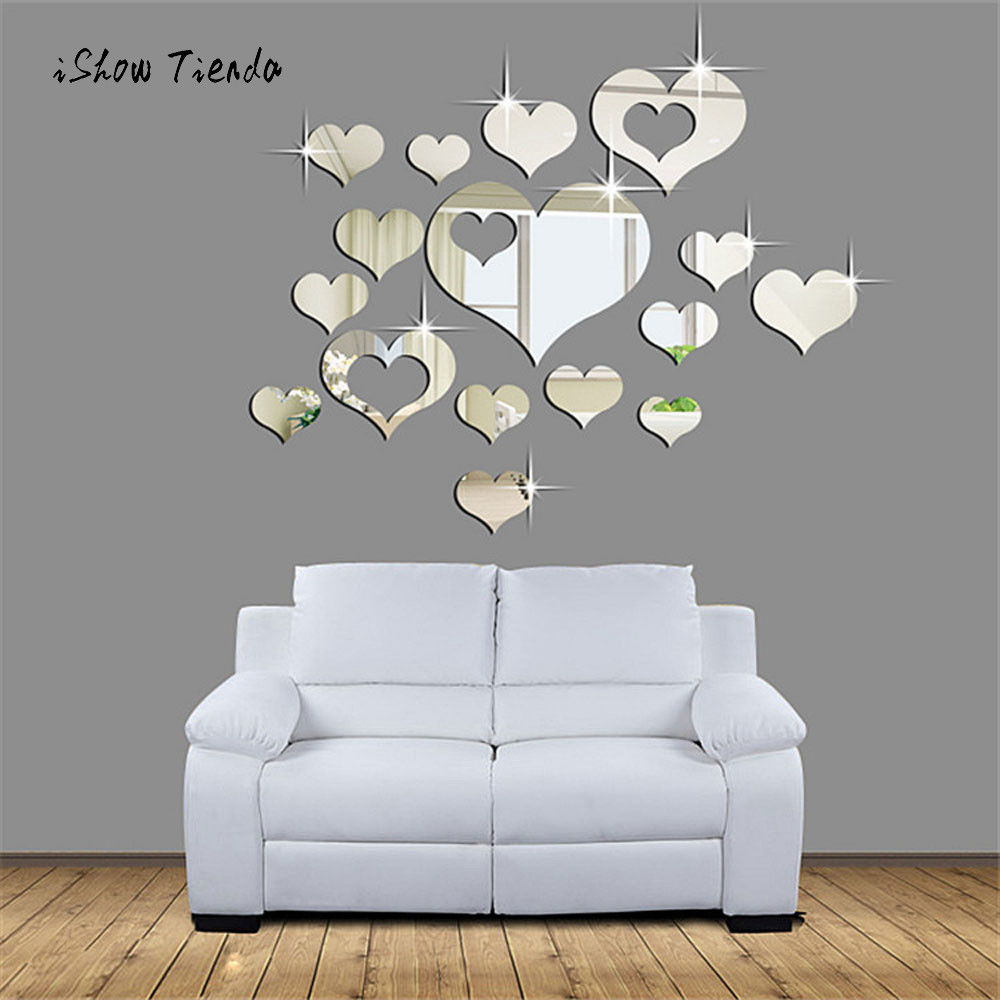 Wall stickers for bathroom - 1set 15pcs Creative Mirror Wall Stickers Home 3d Removable Heart Art Decor Wall Stickers Living Room Decoration Bathroom Decals