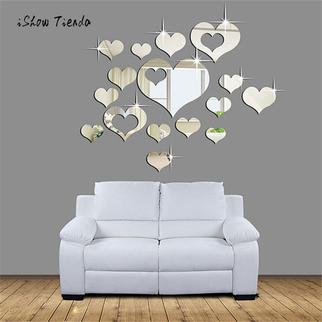 1Set 15pcs Creative Mirror Wall Stickers Home 3D Removable Heart Art Decor  Wall Stickers Living Room