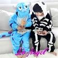 Crianças Dos Miúdos Dos Desenhos Animados Animal Macacão Pijamas Sulley/Esqueleto Pijama Cosplay Costume Party Meninas Meninos Sleepwear Conjuntos de Pijama