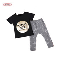 2Pcs Newborn Toddler Baby Boys Girls Infant Clothes Golden Letter Mamas Boys Printed Jumpsuit Outfit Sets