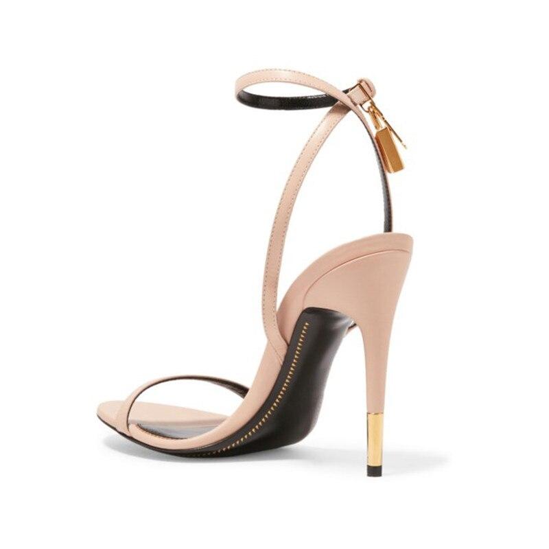 Pic Chaussures Femmes Mode Métallique Habillées La As as Nouveau Talons Sandales Sexy Stiletto Cheville Sandale Pourpre De Rose Pic Serrure Blocage Hauts twXqP1T