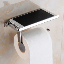 Bathroom Toilet Roll Paper Holder Wall Mount Stainless Steel Bathroom WC Paper Phone Holder with Storage Shelf Rack 2018 hot stainless steel bathroom toilet suction cup mobile phone paper holders wall mount bathroom accessories paper shelf