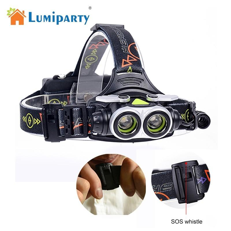 LumiParty LED Headlamp 2x T6 LED 4 Modes Headlight USB Rechargeable Outdoor Flashlight for Camping Hiking Fishing high quality 2 mode power 5w led headlight 48000lx outdoor fishing headlamp rechargeable hunting cap light