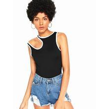 2019 New Yfashion Female Unique Vest Off Shoulder Round Collar Irregular Cotton Tops T shirt