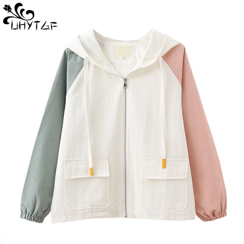 UHYTGF Women Bomber   Jacket   Zipper Coat Plus Size Wild Hooded   Jackets   Female New Spring autumn 2019 Long Sleeve   Basic     Jacket   X241
