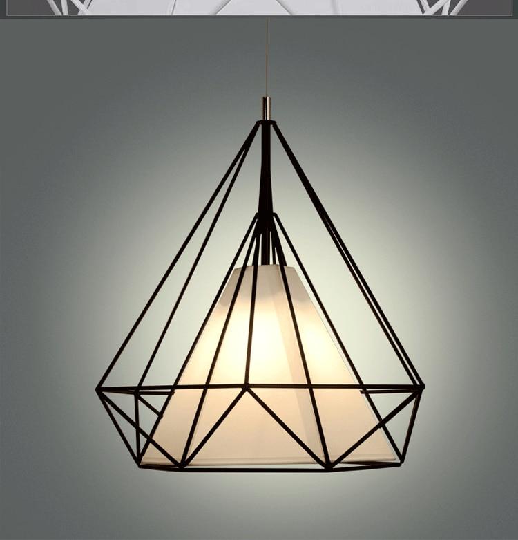 Modern Black Birdcage Pendant Lights Iron Minimalist Retro Light Loft Pyramid Lamp Metal Cage E27 Droplight Hanging Lamparas