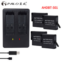 4Pcs 1800mAh Batteries for GoPro Hero 5 Gopro 6 Action Camera Battery AHDBT 501+ USB Battery Charger