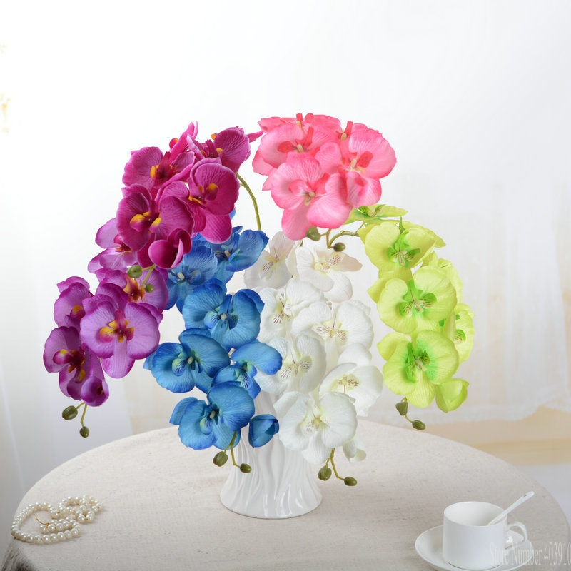 Artificial Butterfly white Orchid flower Silk+Plastic Moth Phalaenopsis for Wedding Home DIY Decoration Fake Flowers