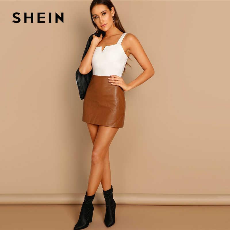 SHEIN черный v-образный вырез спереди боди сексуальные ремни простые обтягивающие без рукавов Боди женские осенние эластичные минималистичные боди