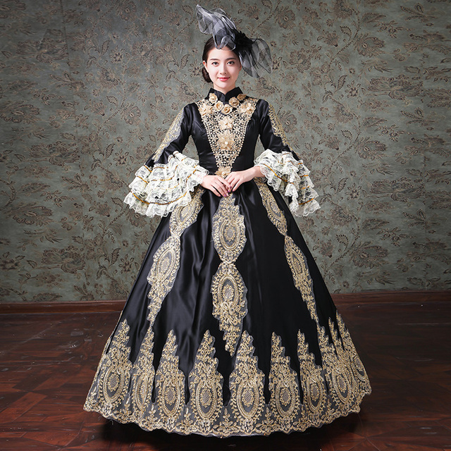 361fef179746 2019 Autumn Winter Black and Blue Stage Party Dress Medieval Marie  Antoinette Gold Appliques Ball Gowns Theater Costumes