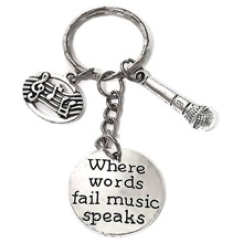 Where Words Fail Music Speaks Singer Charm Pendant Microphone Art Professional Keychain Unisex Alloy Jewelry key chain