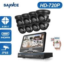 SANNCE 1500TVL 8CH 720 P AHD DVR Monitor Incorporado Sistema de Cámaras de Seguridad Al Aire Libre