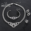 Amader Party Accessories Wedding Jewelry Sets For Women Pendant African Beads Imitation Crystal Necklace Earrings Fine Rings