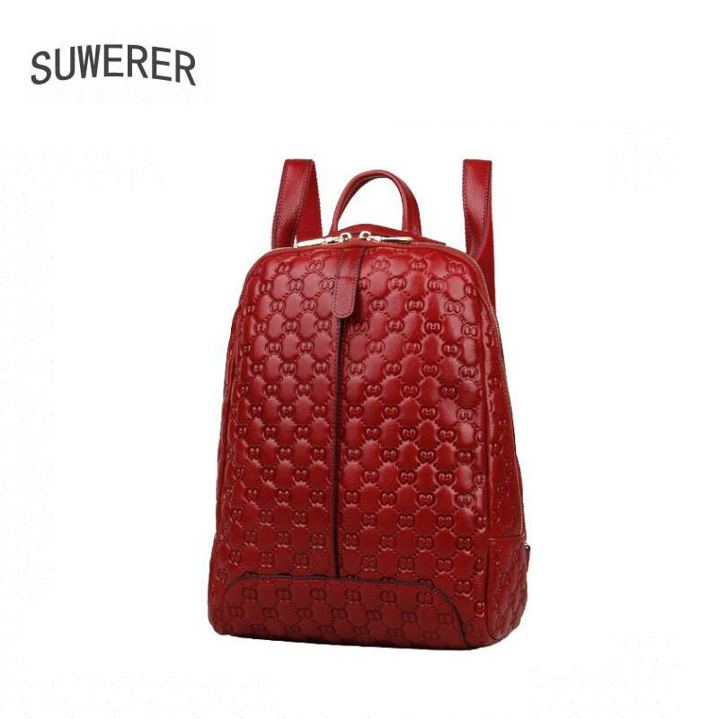 SUWERER new Genuine Leather backpack women luxury backpack women bags designer bags women female backpack fashion embossed bag