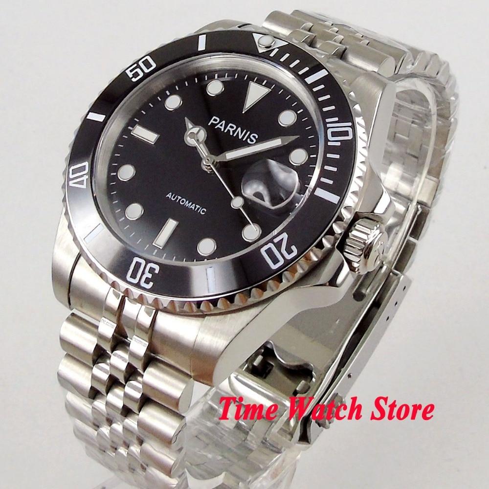 Parnis 40mm MIYOTA 8215 SUB Automatic men's watch sapphire glass black dial luminous waterproof Jubiless bracelet