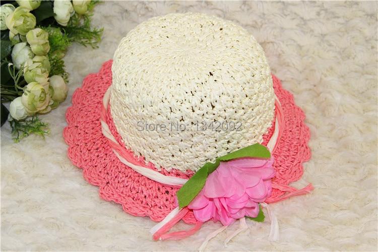 Nette Kinder Sommer Crochet Straw Strand Sonnenhut Mit Blumen