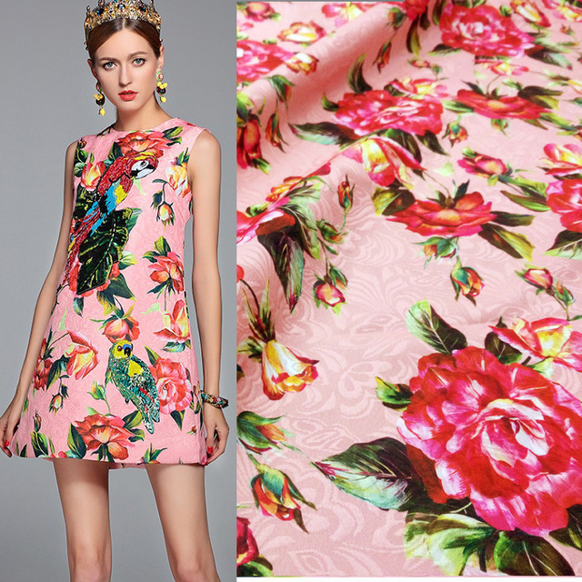 Pink rose flowers Jacquard printed fabrics European and American brands with the same paragraph custom clothing fabrics