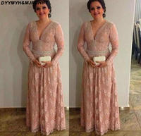 Hot Sales Long Sleeve Lace Mother Of The Bride Dresses 2018 V Neck A Line Groom Gowns For Wedding