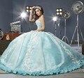 Estilo Gótico Vitoriano Vintage 2017 Querida Corpete Espartilho azul Vestidos Quinceanera com apliques de pérolas flor do bebê vestido de baile