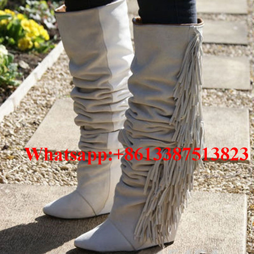 где купить  Ladies Fringe Suede And Soft Leather Patchwork Knee High Boots Tassel Wedges Slip-On Botas Mujer Fashion Brand Women Shoes Woman  по лучшей цене