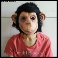 Halloween Party Cosplay Latex Rubber Animal Chimp Head Mask Monkey Head Mask Fancy Dress Lazy Bruno