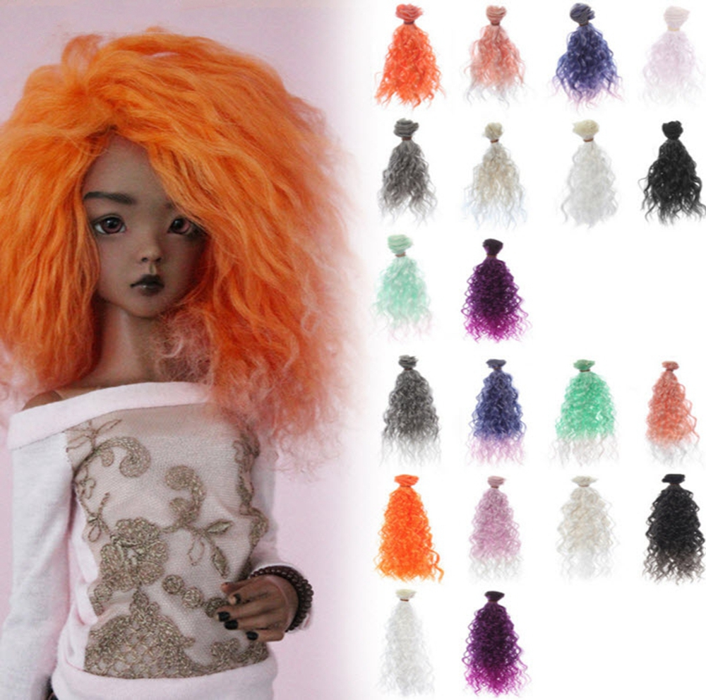1pc High Quality Handmade Doll Wig BJD Doll Hair DIY High-temperature Wire Handmade Natural Curly Wigs Big Hair Curls