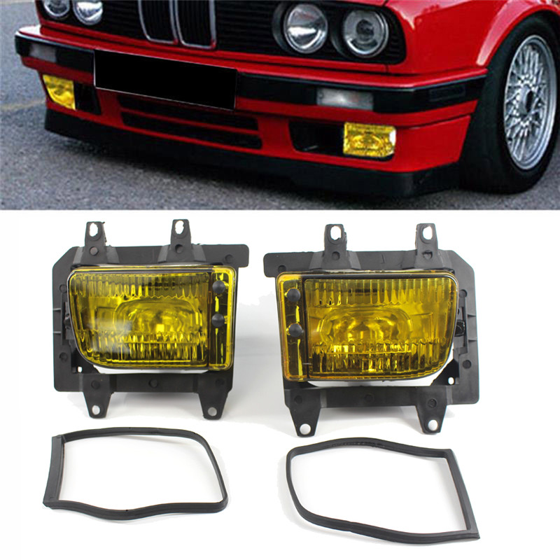 New High Quality 2pcs Super Bright Yellow Fog Lights Front Bumper Clear Plastic Fit For Bmw E30 318i 318is 325i 85 93 294911 In Car Light Assembly