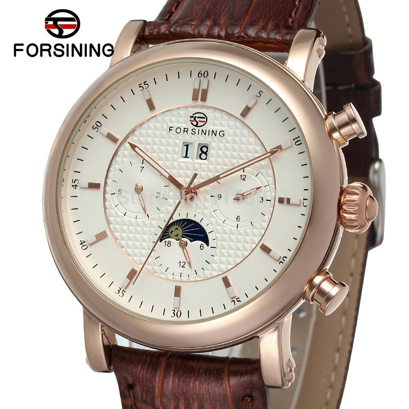 все цены на FSG553M3R1 latest   luxur arrival Automatic with moon phase men watch brown genuine leather strap   free shipping with  gift box онлайн