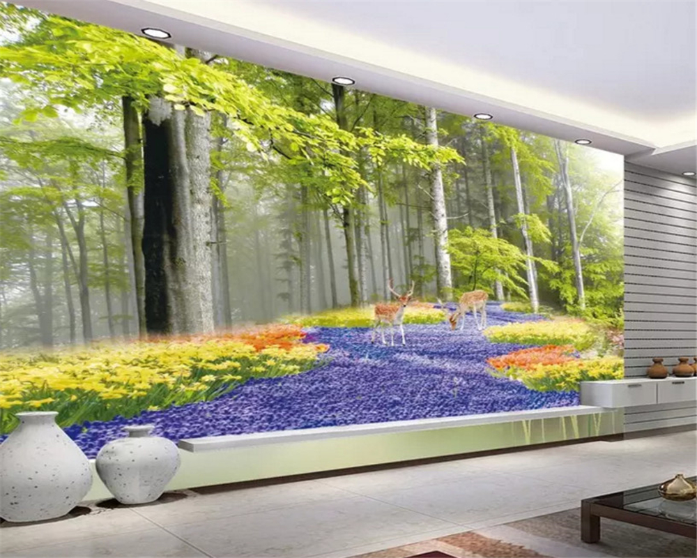 beibehang Custom size Classic thick stereoscopic silky papel de parede 3d wallpaper beautiful landscape wonderland TV background in Wallpapers from Home Improvement