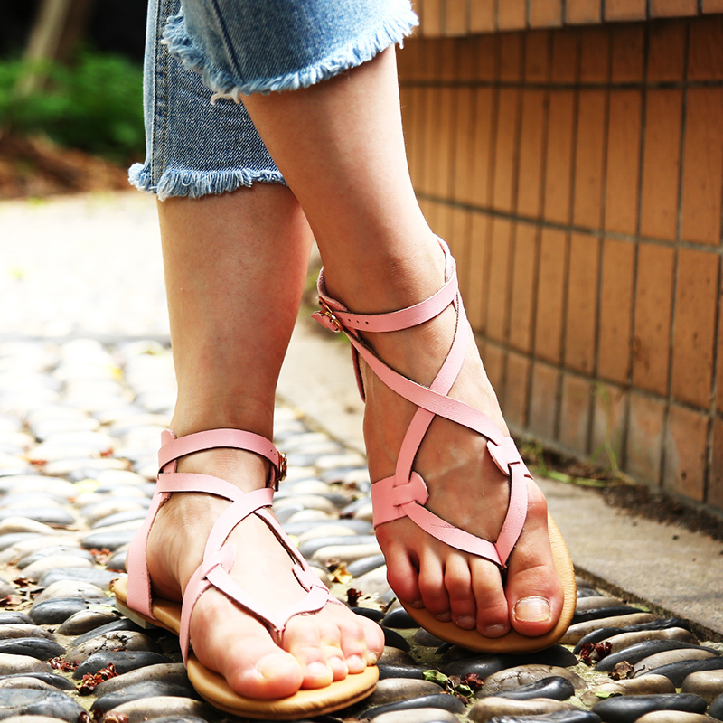 Women Flat Shoes Bandage Bohemia Leisure Lady Casual Sandals Peep-Toe Outdoor Casual Low Heels  Fashion Shoes