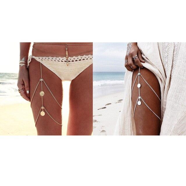 Chaud Sexy jambes chaînes pièces pendentif croisé harnais taille ceinture chaîne Vintage Bikini cuisse jambe chaînes corps bijoux pour la fête